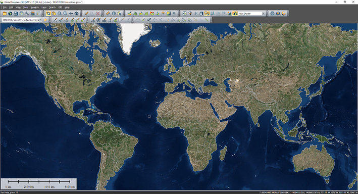 Screen capture of Global Mapper GIS software displaying world imagery