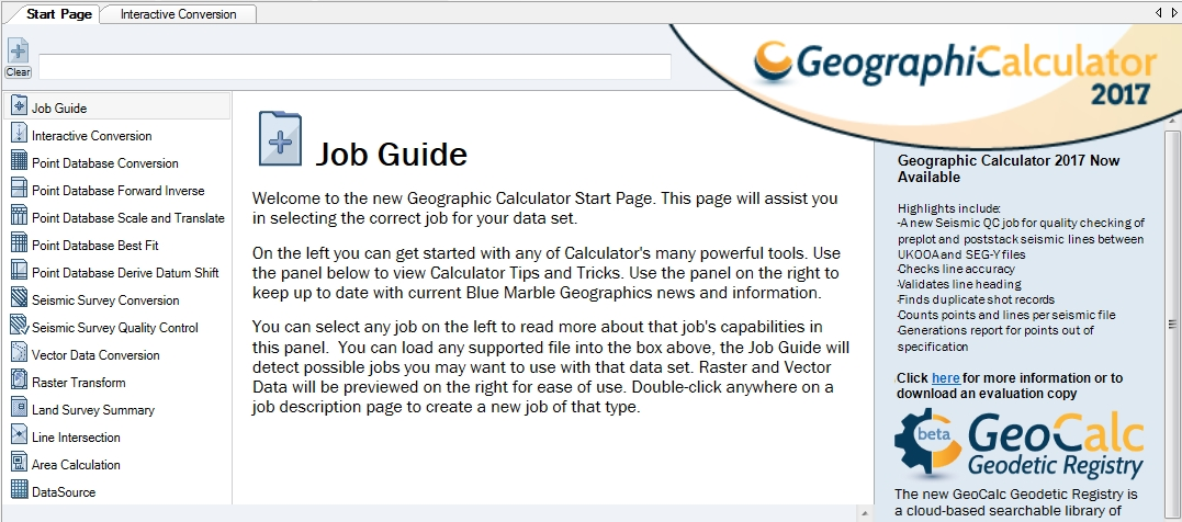 Any Of The Geographic Calculatoru0027s Thirteen Job Types (below) May Be  Initiated From The