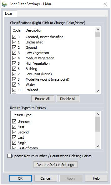 Filter Lidar Data