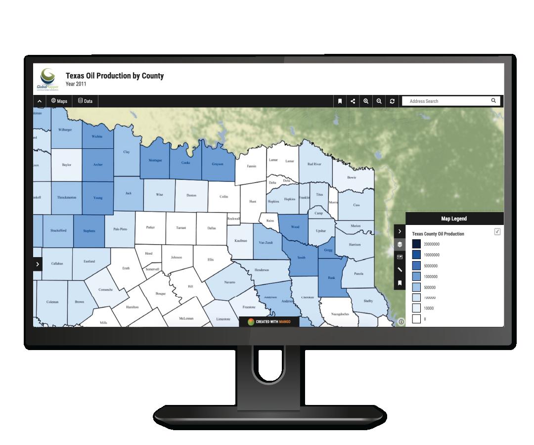 Mango Maps Mockup Texas Oil Production