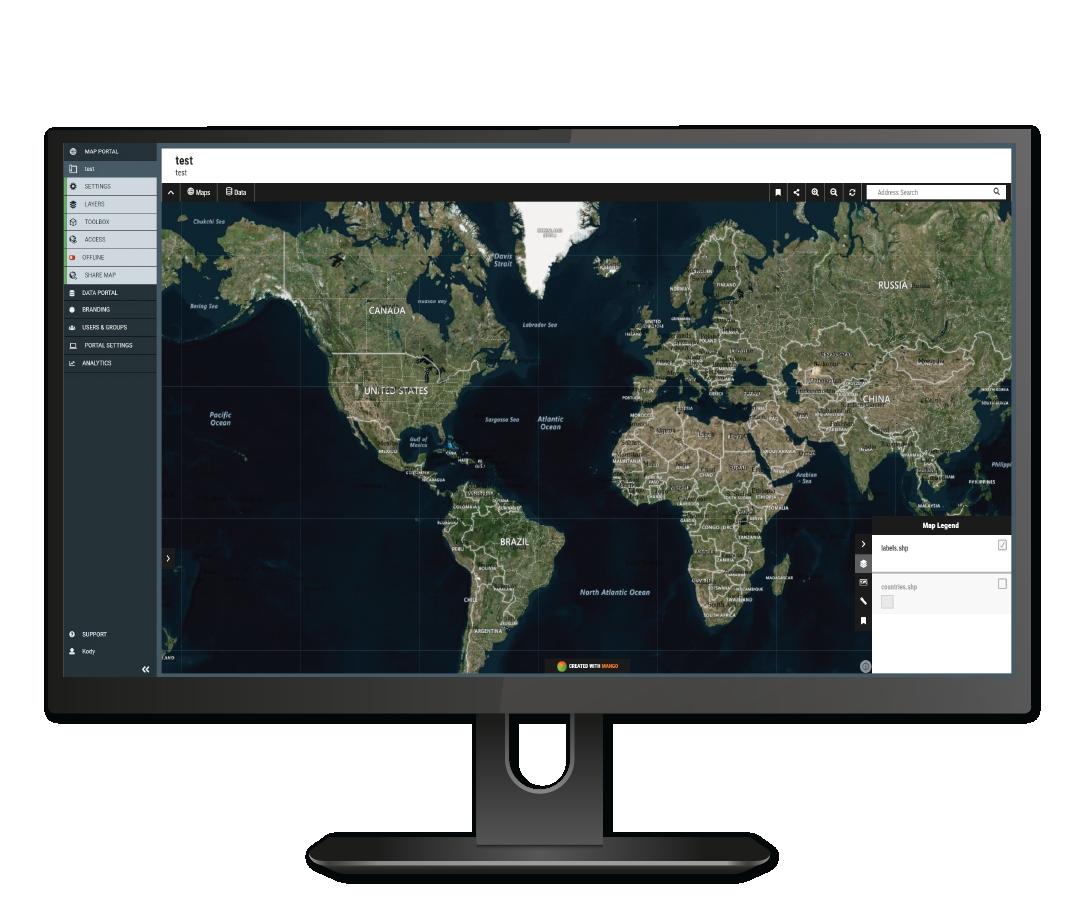 Global Mapper Mango Maps Mockup World Map