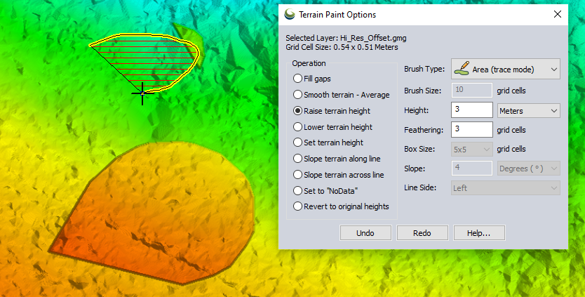 Area (trace mode) brush