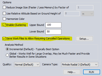 Enable Clustering and Save Work File options for Pixels to Points