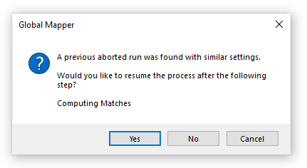 A dialog box to continue the process after canceling