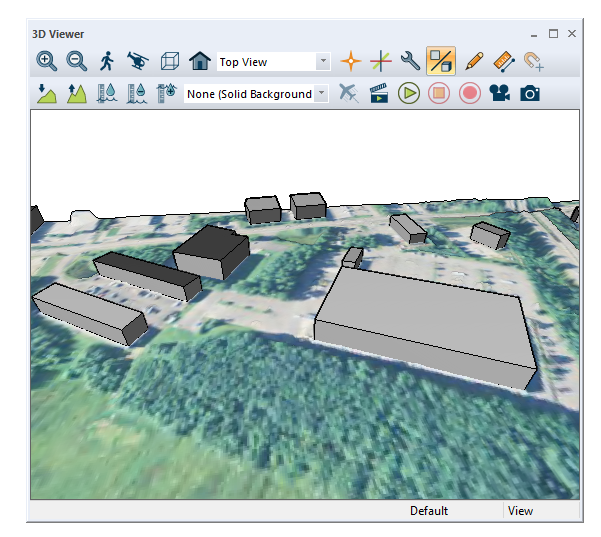 3D Viewer displaying extracted building features