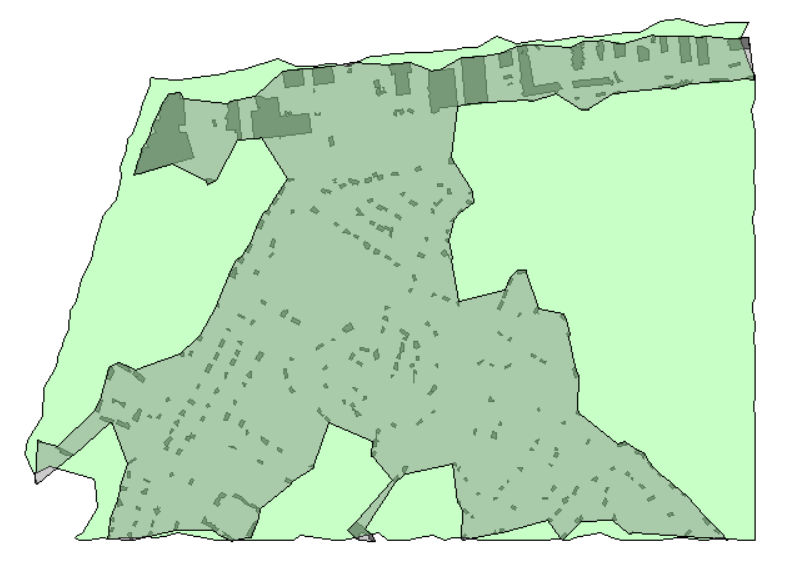Tree area coverage overlapping building boundary area with extracted buildings