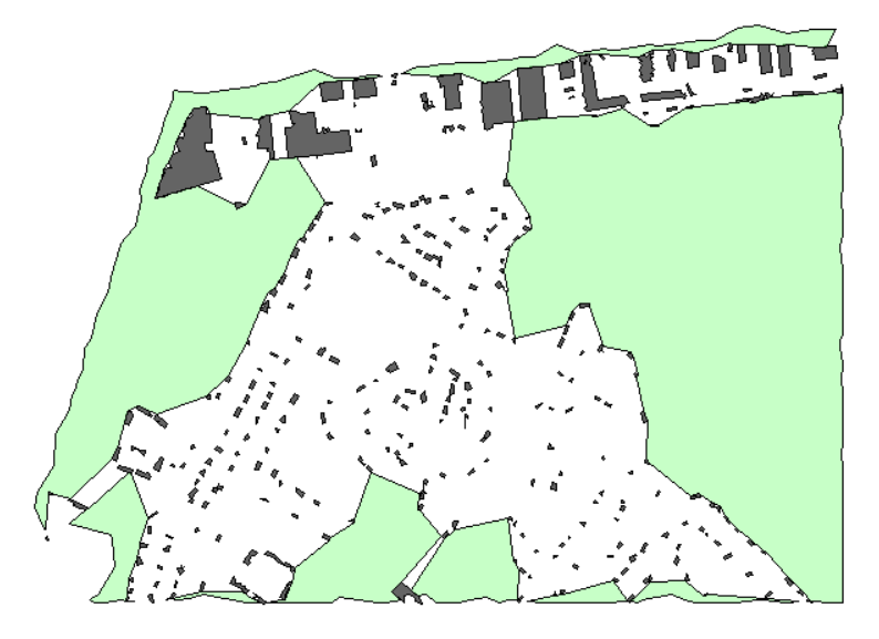 Difference performed between tree and building boundary areas with extracted buildings