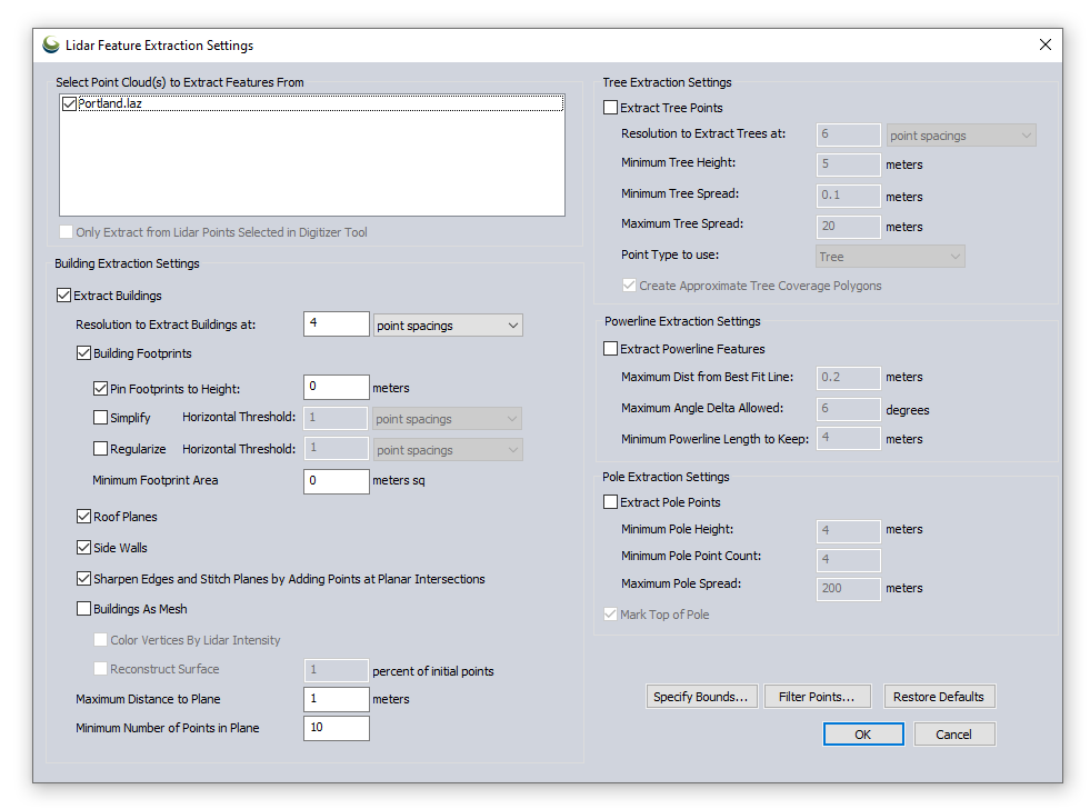 Lidar Feature Extraction Settings dialog box