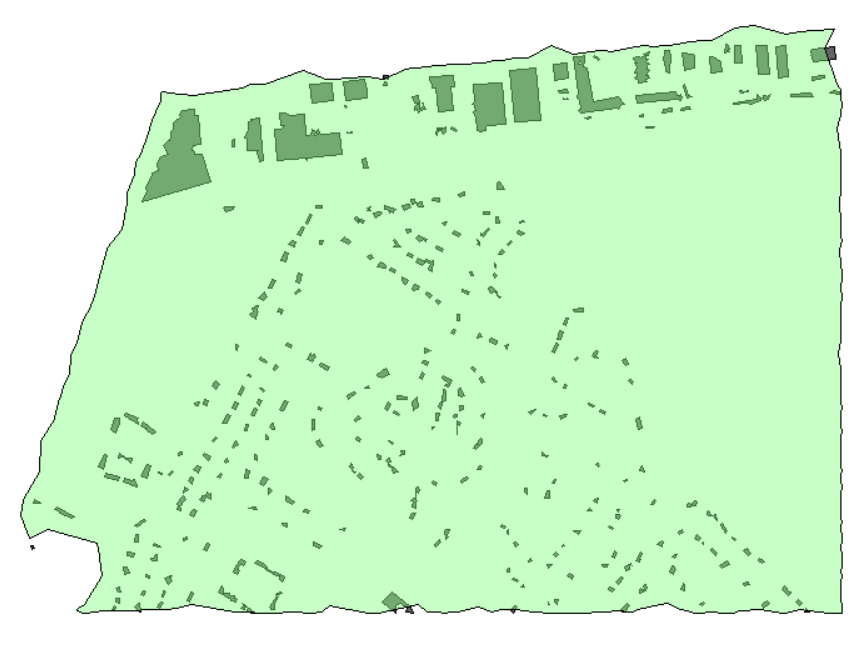 Tree area boundary area with extracted buildings