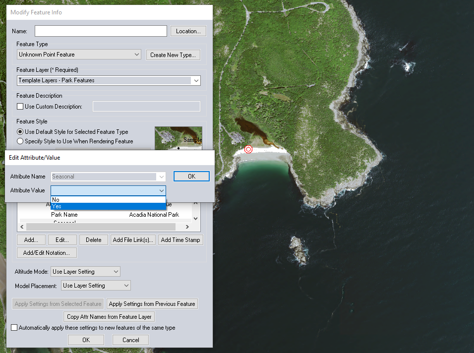 Modified template in Global Mapper
